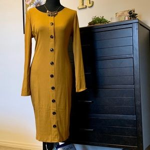 Ribbed Button Up Mustard Dress